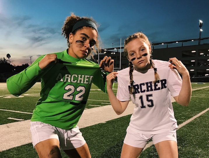 Rachel Pike and Liadan Solomon, two out of the three 2016-2017 varsity soccer captains, pose after a win. The pair are the only seniors on the team. Photo courtesy of Solomon.