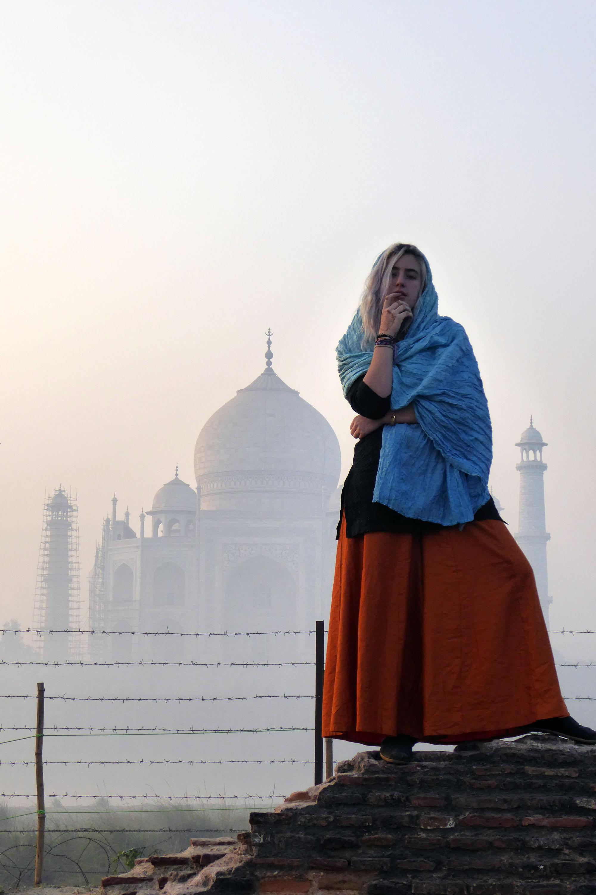 Rose Shulman-Litwin '18 poses in front of the Taj Majal in Agra, India during the Archer Abroad trip to India. All of Shulman-Litwin's previous thoughts on India were completely changed once she arrived.