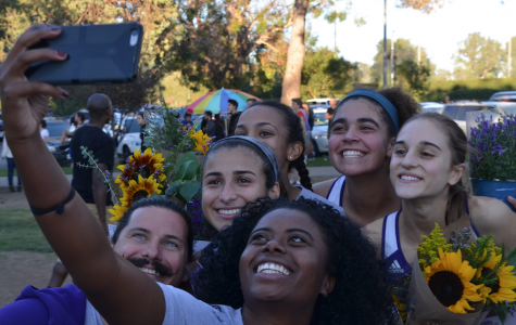 Cross country coaches and players pose for a selfie at League Finals. Three runners were named All League this season. Image courtesy of Leyla Namazie '17