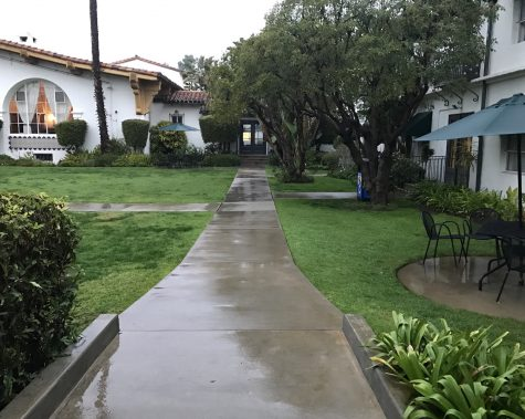 The walkway in the Archer courtyard is soaked with rain. This week, Los Angeles experienced rain multiple times, which is highly unusual.