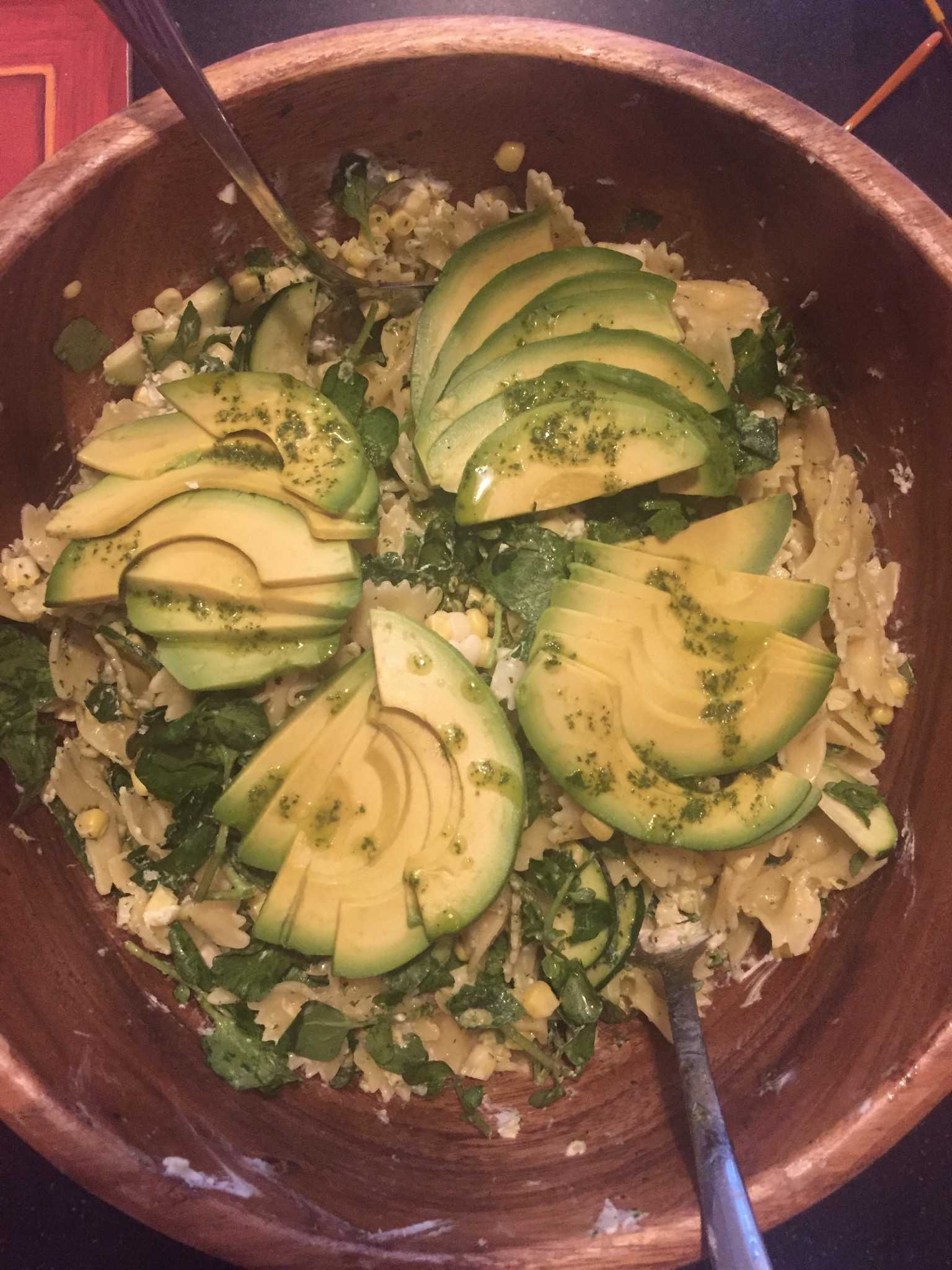 An easy vegetarian meal is always pasta.  I made this  with goat cheese, watercress and avocado.