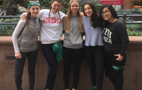 From left to right, Emily DeLossa '20, Caitlin Mosch '18, Stella Kraus '20, Ariana Golpa '20 and Ruby Colby '19 pose during the scavenger hunt. The activity was held at the Third Street Promenade. Image courtesy of Mosch.