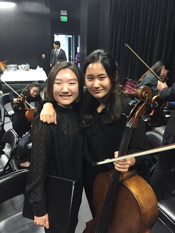 Featured soloists, Audrey Koh '17 and Hannah Kim '20, at the CAIS Honor Music Festival that took place at Viewpoint School this past weekend. Image courtesy of Ms. Burns.