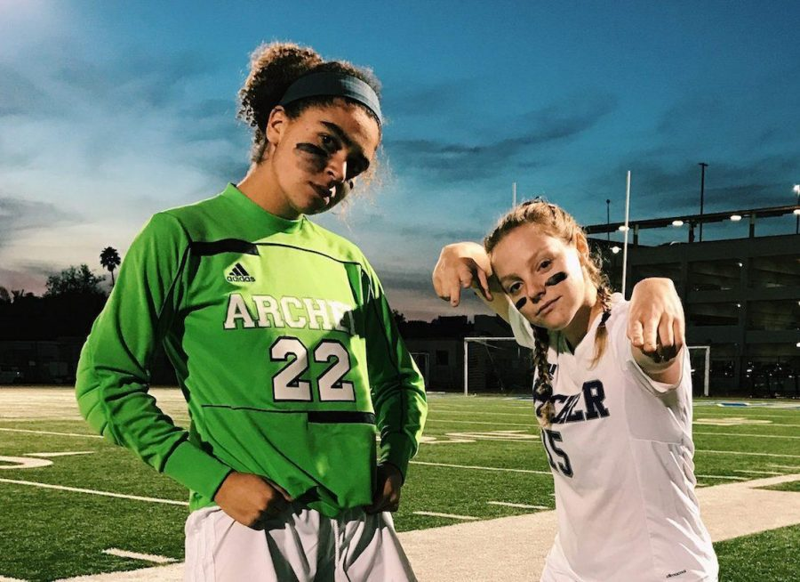 Varsity soccer co-captains Rachel Pike (left) and Liadan Solomon (right), both '17, pose for a picture after a game. Both were named to the Liberty League's soccer All-League team, while Solomon was also named Co-MVP. Image courtesy of Solomon.