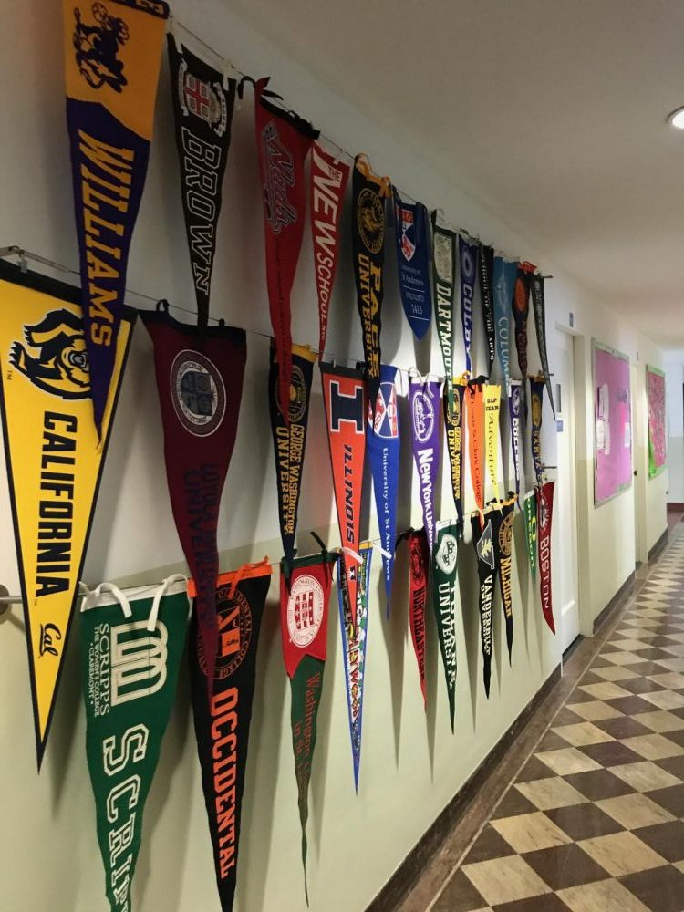 The pennants hung by the class of 2017 on April 28.