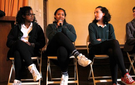 Sophomores Sydney Velasquez, Siena Mills and Isabel Kuh speak on a panel during this year's Diversity Conference to discuss their personal experiences with diversity inside and outside of school. This year's conference focused specifically on diversity at Archer by holding student-run panels and lectures.
