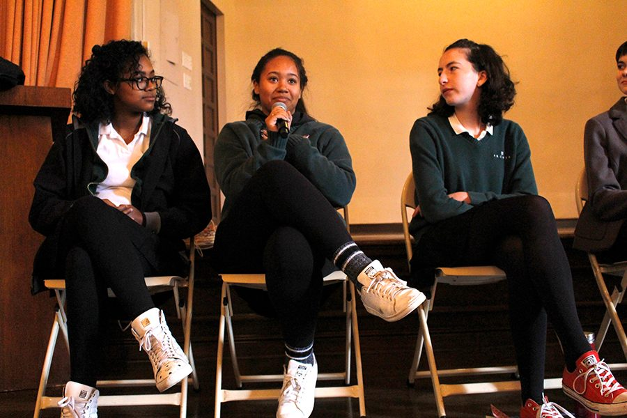 Sophomores+Sydney+Velasquez%2C+Siena+Mills+and+Isabel+Kuh+speak+on+a+panel+during+this+year%27s+Diversity+Conference+to+discuss+their+personal+experiences+with+diversity+inside+and+outside+of+school.+This+year%27s+conference+focused+specifically+on+diversity+at+Archer+by+holding+student-run+panels+and+lectures.+++