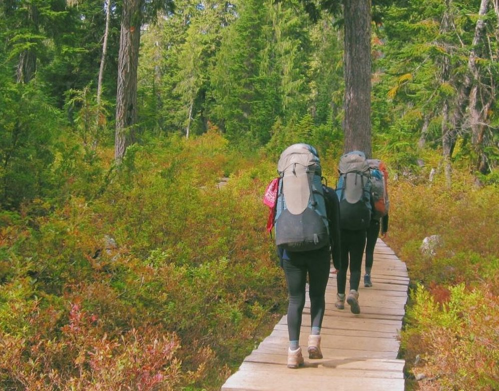 Juniors hike through Mount Baker-Snoqualmie National Forest on Arrow Week. National forests like this  support large, diverse ecosystems and create clean air and water needed by humans.