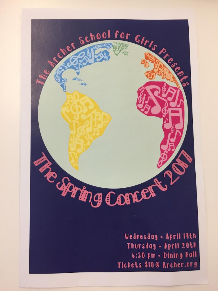 A poster advertising this year's show. The concert was held on April 19th and April 20th.