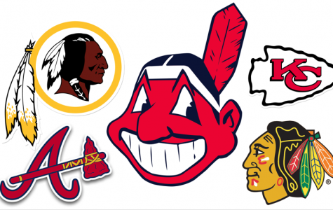 Collage of Native American mascots currently used by professional sports teams. The NFL's Redskins (top left) and Chiefs (top right), the MLB's Braves (bottom left) and Indians (center) and the NHL's Blackhawks (bottom right) all use harmful Native American logos. Image source <a href=