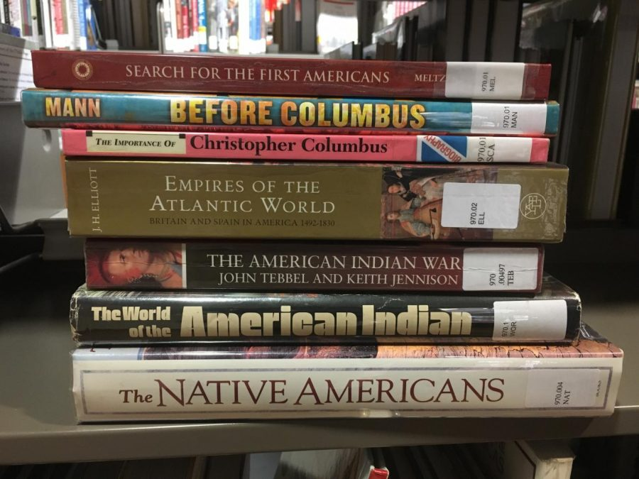Archer+library+books+on+Native+Americans+and+Columbus.+On+August+30%2C+2017%2C+the+Los+Angeles+City+Council+replaces+Columbus+Day+with+Indigenous+Peoples+Day.+