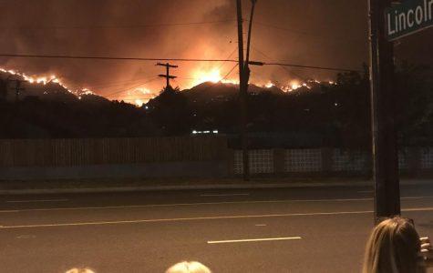 A view of the La Tuna fire from Glenoaks Boulevard taken Saturday night.