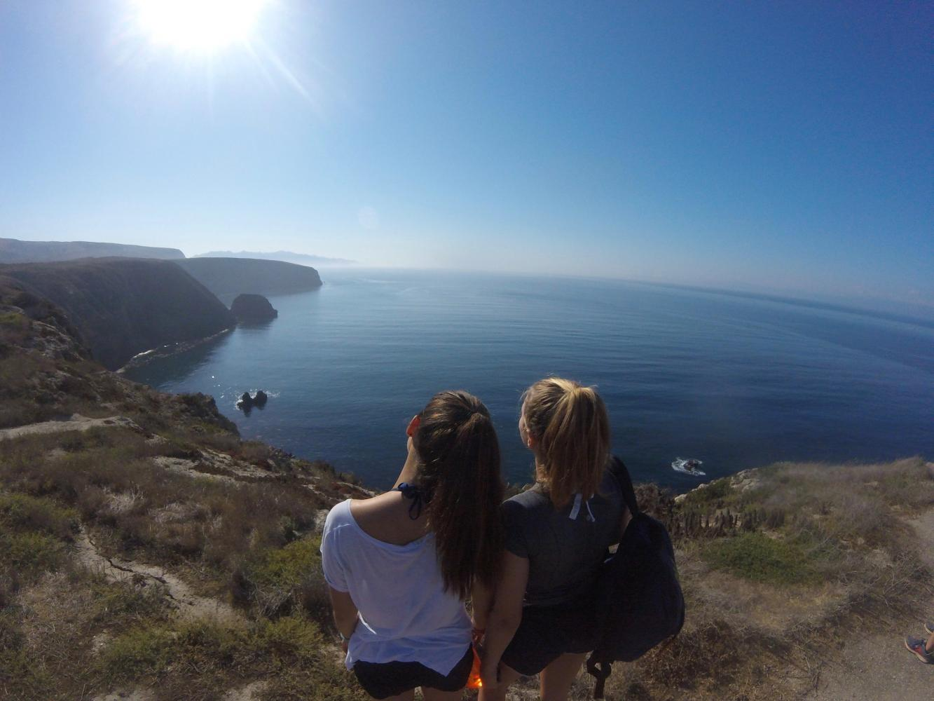 Erica Dick '18 and Locke Luhnow '18 take in the view after a hike on Santa Cruz Island. The seniors spent three days on the Channel Islands for their Fall Outing trip.