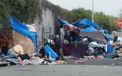 A homeless encampment in Los Angeles. Many homeless people struggle to find steady jobs. Image source:  County of Los Angeles, Mark Ridley Thomas.