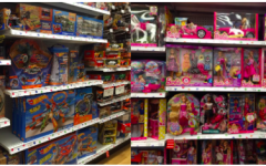 Toys in the boys' aisle versus girls' aisle. The difference in selection negatively reinforces gender roles starting at an early age.