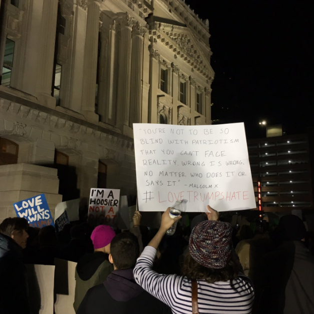 Protestors gather in front of the Indiana State Capitol on Nov. 12, 2016 — immediately following the election of Donald Trump. Almost a year later, the country is more divided than ever and unity among all is needed to prevent further tragedy.