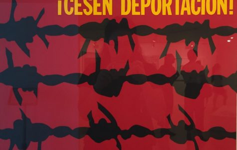 Silkscreen painting by Rupert Garcia featured in the exhibit. This work was created in 1941 to convey the pain of deportation.