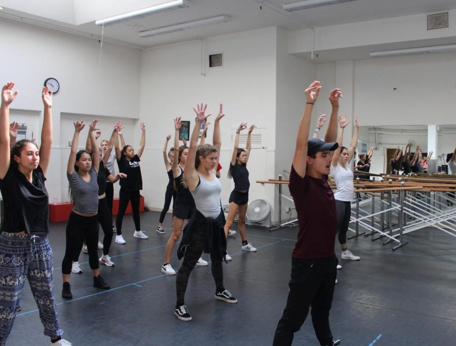 Dancers participate in a master class with