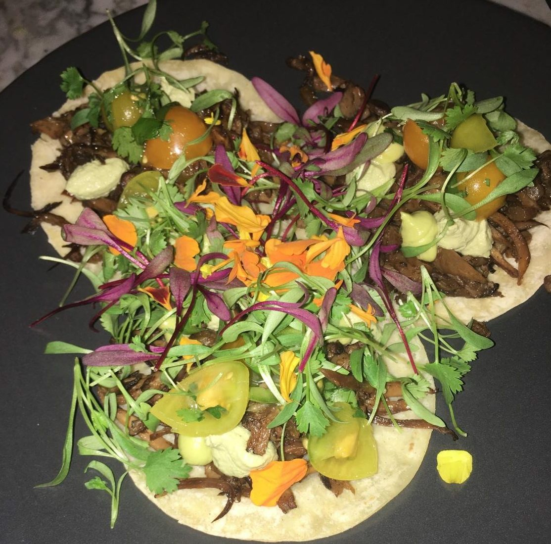 The restaurant offers vegan tacos on their dinner menu. They are the perfect size to share with a friend or to indulge in by yourself.