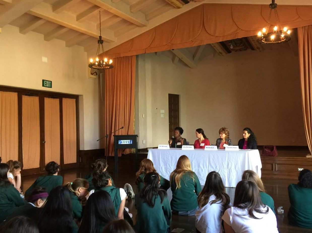 The religious panel, including Amy Bernstein, Matilda Buck, Terri McCaskill and Tasneem Noor, presents to the freshman class. Each woman discussed a different religion: Judaism, Buddhism, Christianity and Islam.