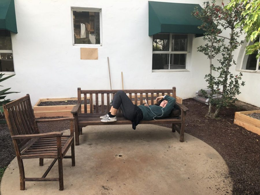 Jael+Ellman+%2718+relaxes+on+the+bench+in+the+courtyard%27s+garden+before+heading+to+class.+Students+often+eat+lunch+or+spend+time+in+this+community+space.