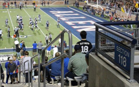 Fans watch the Allen vs. Hebron semi-final football game. The game was held at Eagle Stadium in Allen, Texas.
