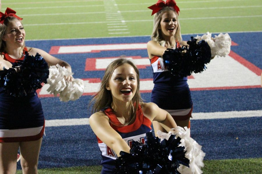 Allen+cheerleaders+celebrate+the+Eagles%E2%80%99+lead.+They+performed+tricks+throughout+the+game.