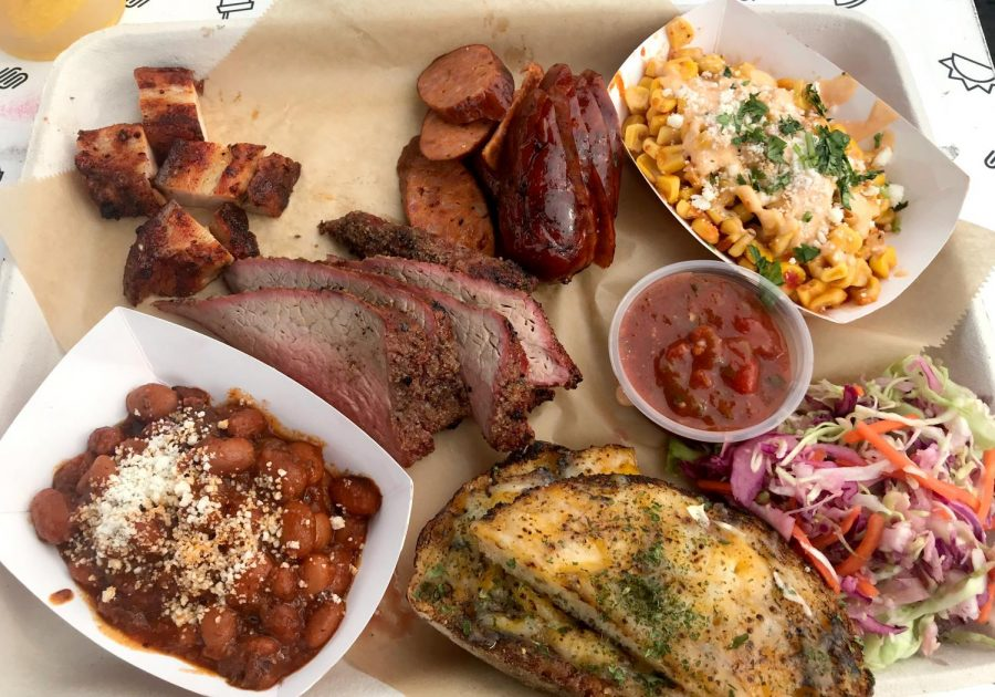 The Stoked! platter from Stoked! California BBQ features three different kind of meat, corn, beans and bread. The platter can be purchased for $20.