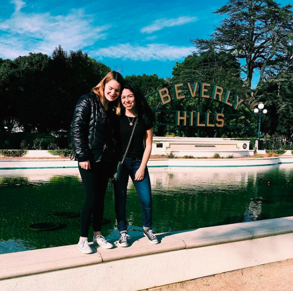 My camp friend, Abby Greenblatt, and I stand in front of the Beverly Hills sign on Canon Drive. Beverly Hills offers many different restaurants and exhibits for the public.