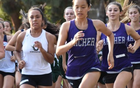Caitlin Chen '19 leads the Archer runners in a meet.  Followed behind her is Sara Weitz '18 and Lily Horton '18.