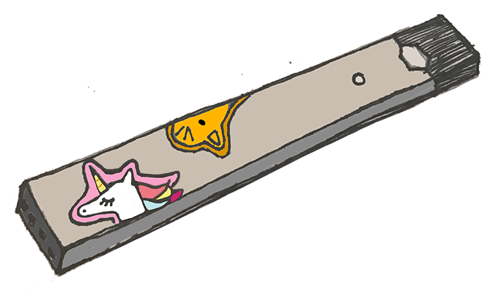 Artistic representation of Lexie's Juul decorated with stickers. Those who do not know what a Juul looks like may mistake it for a flash drive or another everyday object. Illustration by Kisa Rozenbaoum '18 and Cat Oriel '18.