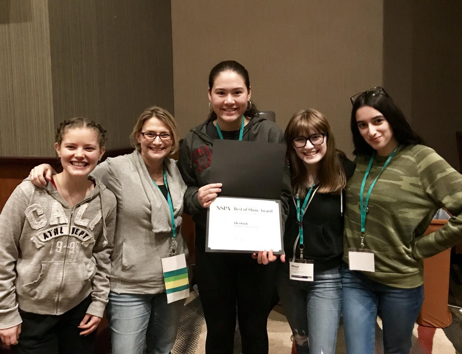 Grace Dieveney '21, adviser Kristin Taylor, Cybele Zhang '18, Maya Wernick '18 and Nelly Rouzroch '18 collect our fourth place award at the JEA/NSPA conference. This year's convention was held in Dallas and had the theme