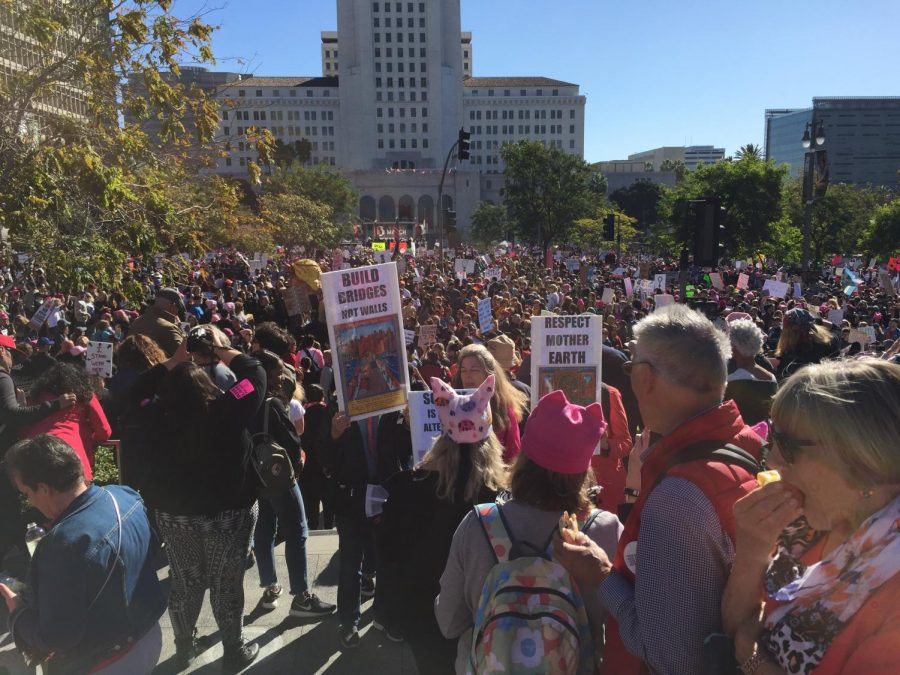 The Women's March gathered outside of City Hall. The event took place from 8 a.m to 3 p.m.