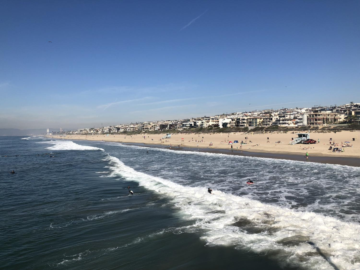 Manhattan Beach seen from the Manhattan Beach Pier. This beach city is a great place for food, family and fun.
