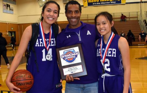 Danielle Roberts '18, basketball coach Jelani Bandele and captain Caitlin Chen '19 celebrate after the tournament. Roberts and Chen received All-Tournament awards.