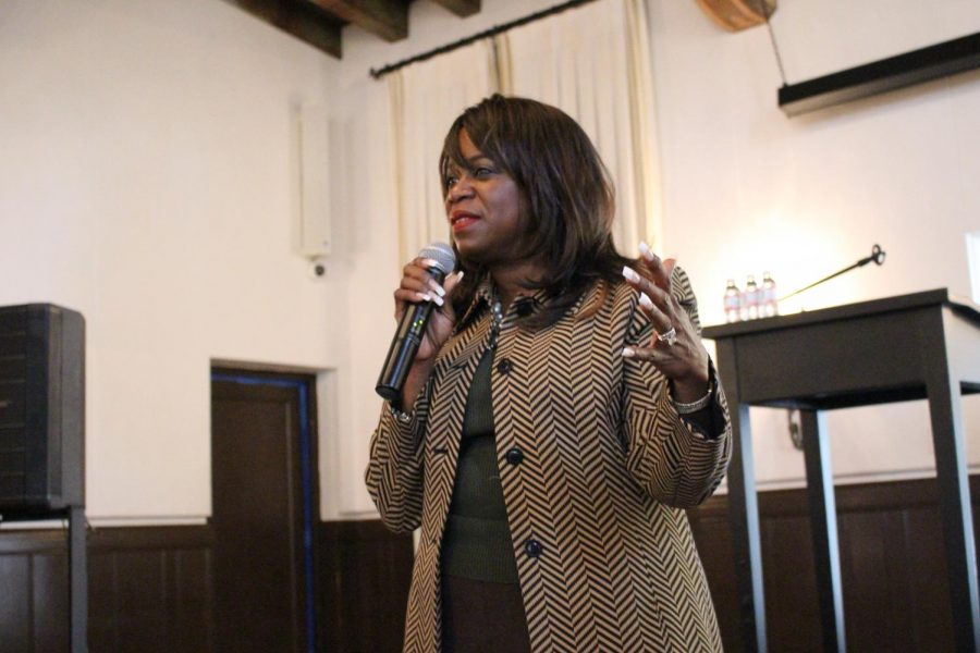 Youlanda Copeland-Morgan speaks to the upper school during Diversity Day. She was one of two keynote speakers.