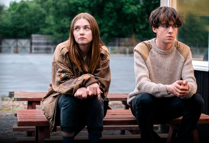 In a promotional photo, James (Alex Lawther) and Alyssa (Jessica Barden) contemplate their next move in Netflix's series