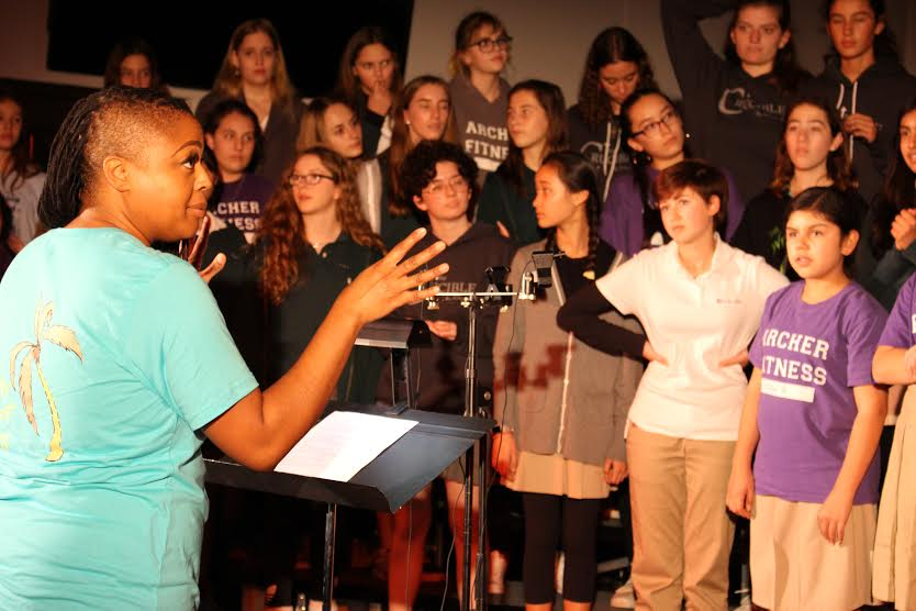Choir+Director+Theresa+Bailey+conducts+a+performance.+This+is+her+first+year+at+Archer.+