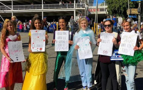 Ava Rothenberg, Glory Chase, Naiobi Benjamin, Jacqueline Marks, Daisy Kaplan and Gwyneth Williams pose for a picture at the Women's March. They dressed as Disney princesses, while holding signs that stand up against stereotypes. Photo courtesy of Williams.