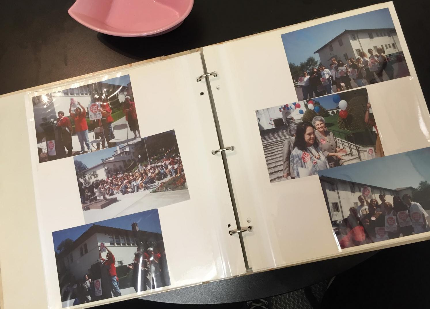 Bridges' photo album with images of her and workers-right activist Dolores Huerta protesting. They were leading a rally to protest Prop 209, in order to fight for more diversity at universities.