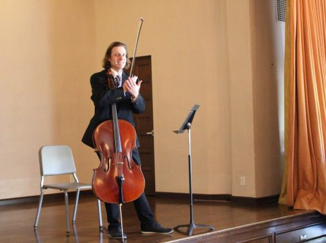 Cellist Brian Thornton performs for, 'inspires' students