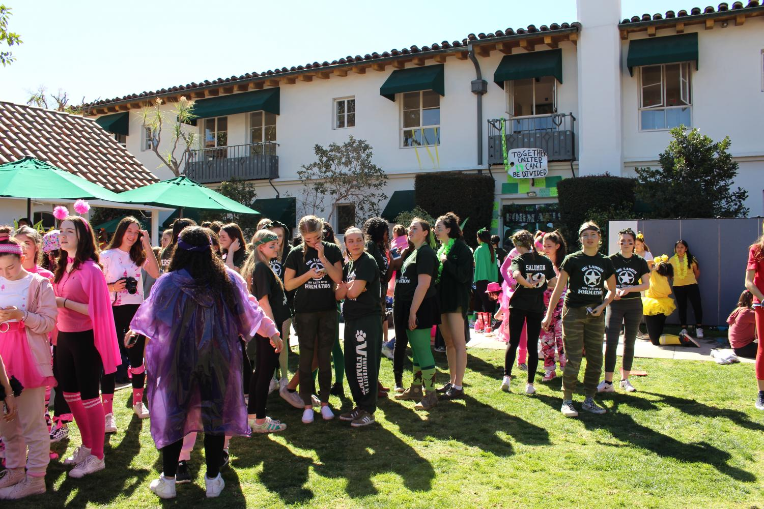 Students+gather+in+the+courtyard+to+celebrate+the+third+annual+Color+Wars.+The+Class+of+2018+won+with+31+points+overall.