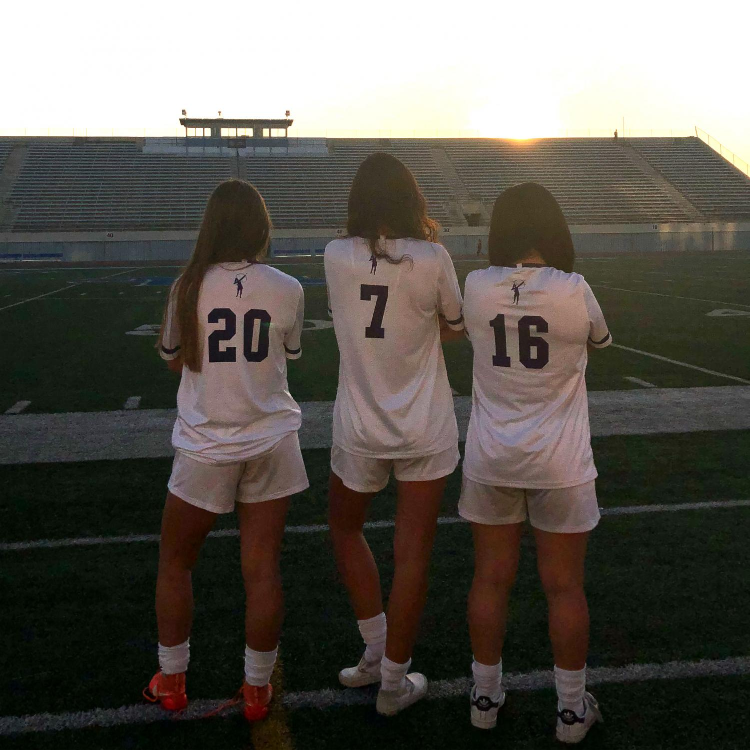 Varsity soccer co-captains Jenna Marks '19,  Caitlin Mosch '18 and Ruby Colby '19 pose at Santa Monica College. SMC serves as Archer's home field. Image courtesy of Mosch.