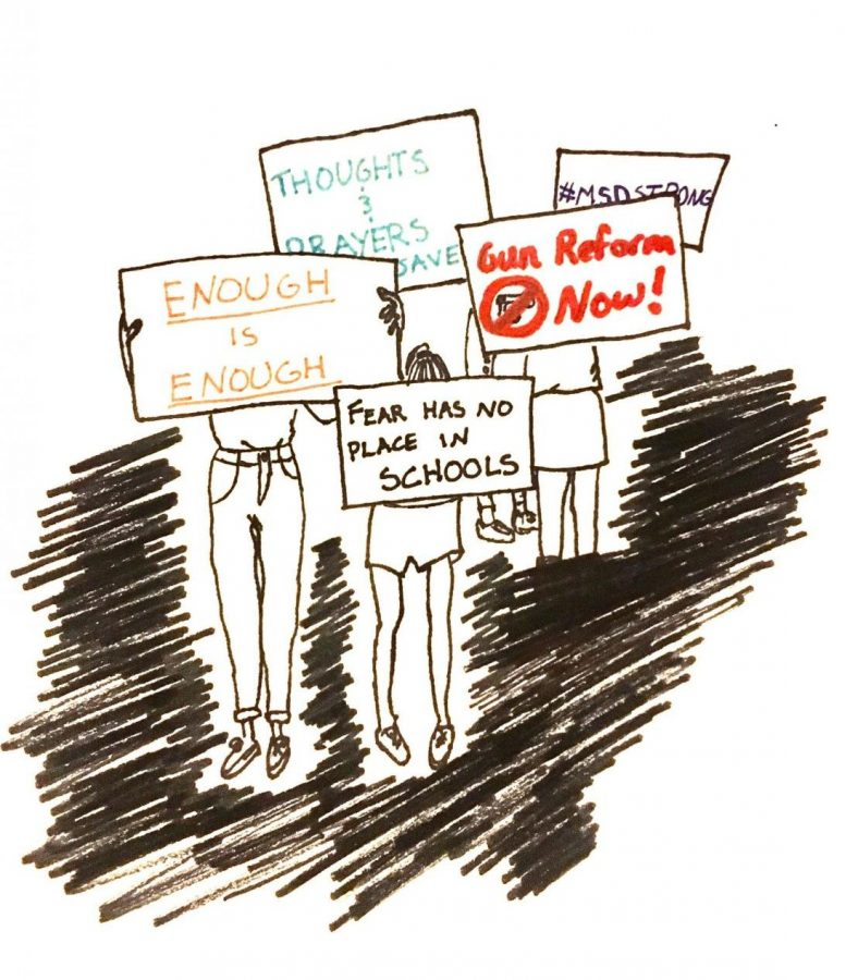 A+sketch+of+students+holding+signs+protesting+the+United+States%27+current+gun+policies.+Since+the+Parkland+shooting+last+month%2C+a+surge+of+youth+activism+has+appeared+all+over+the+country.+Art+by+Lucia+Barker+%2718.