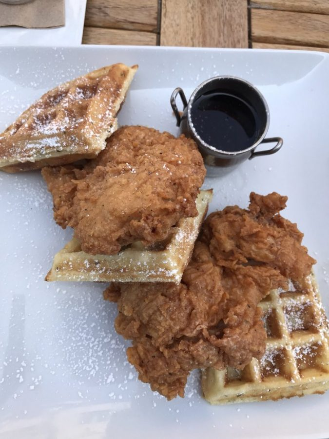 My+delicious+dinner+consisting+of+a+deep-fried+chicken+breast+and+delicious+rosemary+waffle+covered+in+powered+sugar.+Soho+Chicken+and+Whiskey+is+located+in+Cleveland%2C+Ohio.+