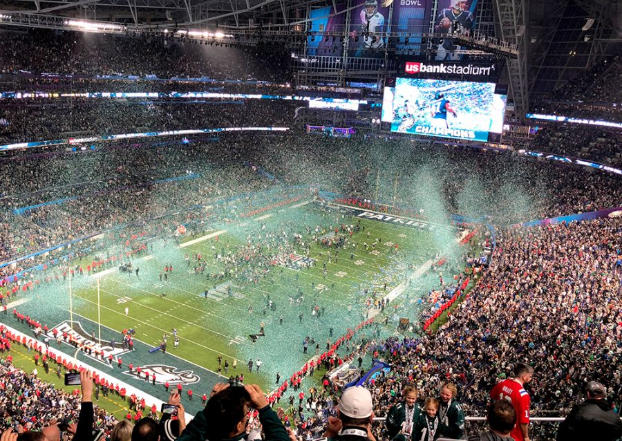Confetti+falls+on+the+US+Bank+stadium+field+after+the+Eagles+won+the+2018+Super+Bowl.+The+enclosed+stadium+opened+in+2016+and+is+home+to+the+Minnesota+Vikings.+Photo+courtesy+of+Brianna+Coughlan.