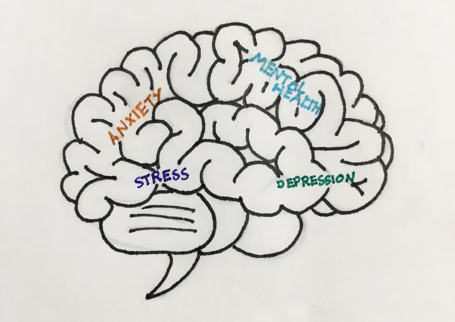 A drawing of the human brain with words that encompass mental health. During her talk with the Mental Health Club, Tara Peris commented on anxiety specifically.  Illustrated by Lucia Barker '18.