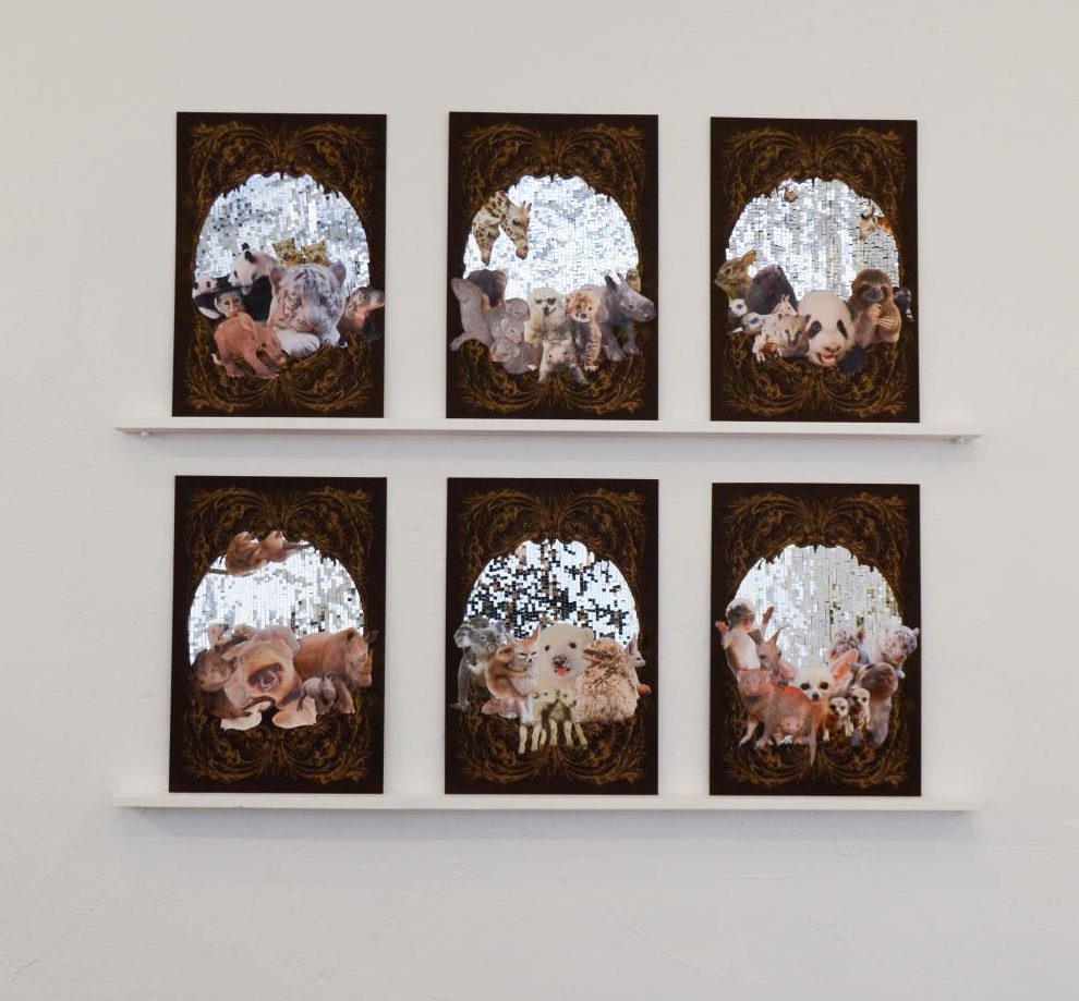 A piece included in the exhibit by Bettina Hubby, a multi-media conceptual artist. She uses multiple mediums to create her work, including collaging, drawing, printmaking, sculpting, video and photography.
