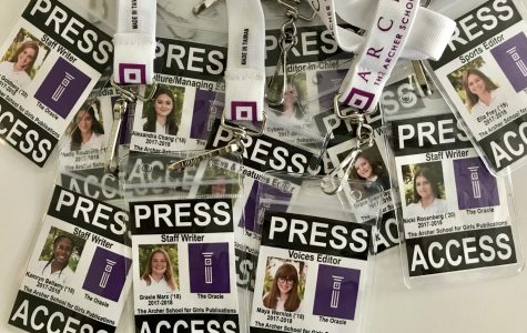 Oracle staff members' press passes. Each student wears a press pass when covering events to separate themselves as student reporters.