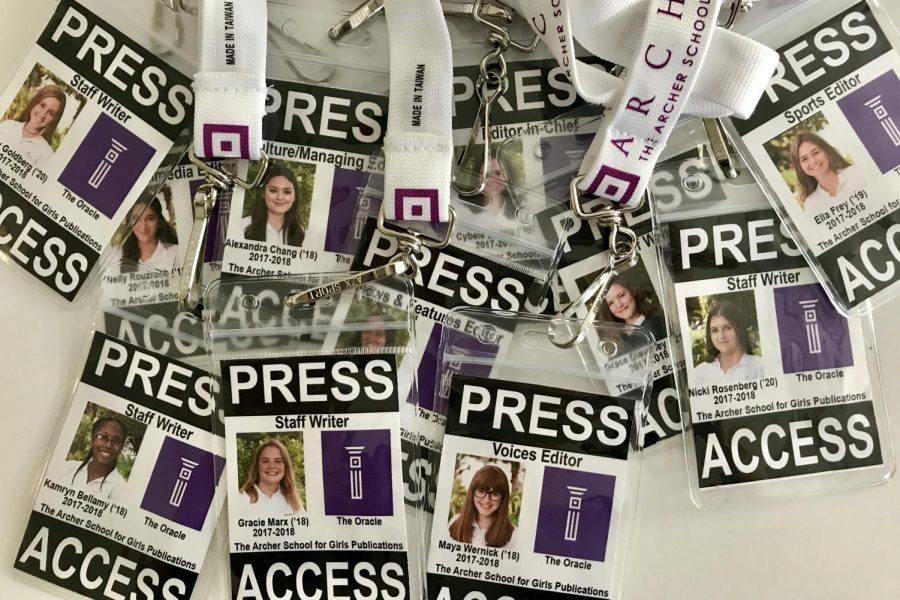 Oracle+staff+members%27+press+passes.+Each+student+wears+a+press+pass+when+covering+events+to+separate+themselves+as+student+reporters.